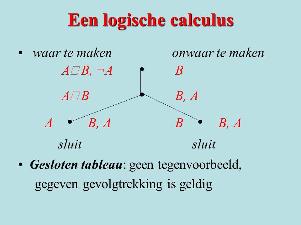 Een logische calculus waar te maken onwaar te maken A  B, ¬A B A  B B, A A B, A B B, A sluit sluit Gesloten tableau: geen tegenvoorbeeld, gegeven