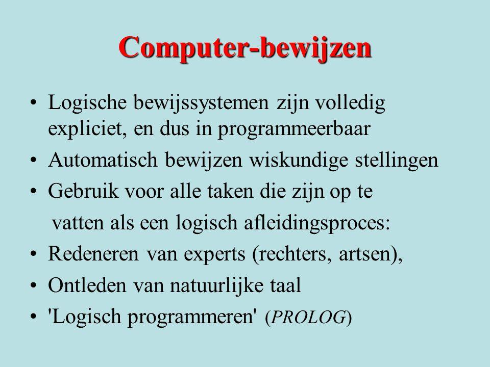 Computer-bewijzen Logische bewijssystemen zijn volledig expliciet, en dus in programmeerbaar Automatisch bewijzen wiskundige stellingen Gebruik voor a