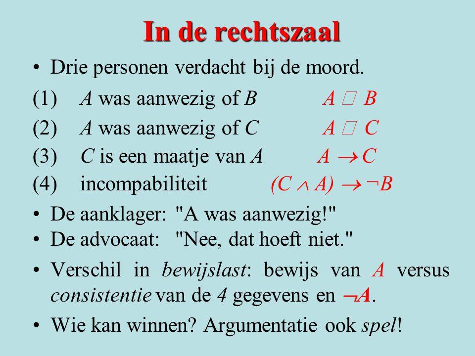 In de rechtszaal Drie personen verdacht bij de moord. (1)A was aanwezig of B A  B (2)A was aanwezig of C A  C (3) C is een maatje van A A  C (4)in
