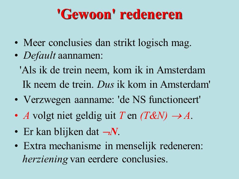 'Gewoon' redeneren Meer conclusies dan strikt logisch mag. Default aannamen: 'Als ik de trein neem, kom ik in Amsterdam Ik neem de trein. Dus ik kom i