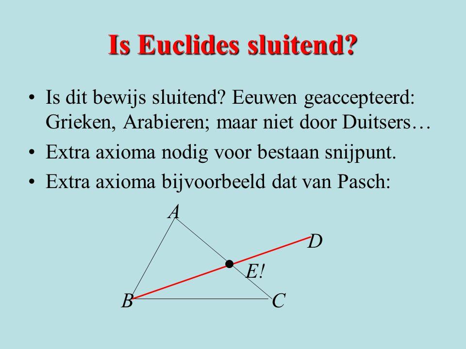 Is Euclides sluitend? Is dit bewijs sluitend? Eeuwen geaccepteerd: Grieken, Arabieren; maar niet door Duitsers… Extra axioma nodig voor bestaan snijpu