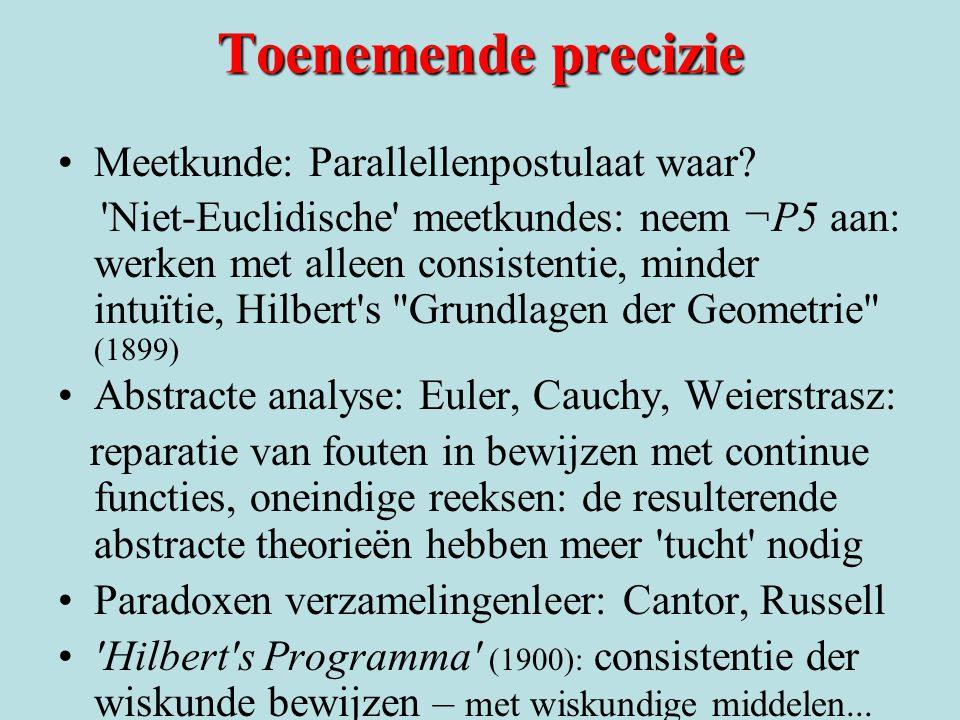 Toenemende precizie Meetkunde: Parallellenpostulaat waar? 'Niet-Euclidische' meetkundes: neem ¬P5 aan: werken met alleen consistentie, minder intuïtie