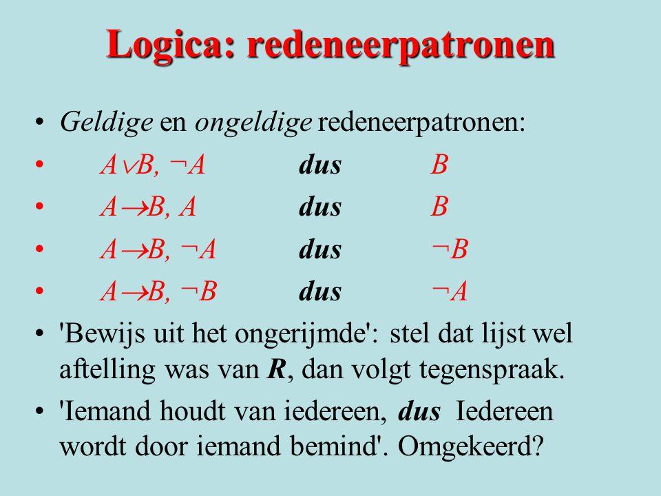 Logica: redeneerpatronen Geldige en ongeldige redeneerpatronen: A  B, ¬A dus B A  B, A dus B A  B, ¬A dus ¬B A  B, ¬B dus ¬A 'Bewijs uit het onger