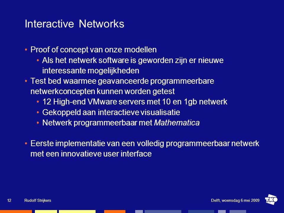 Interactive Networks Proof of concept van onze modellen Als het netwerk software is geworden zijn er nieuwe interessante mogelijkheden Test bed waarme