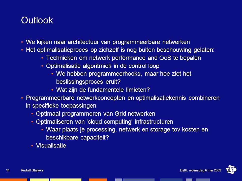 Outlook We kijken naar architectuur van programmeerbare netwerken Het optimalisatieproces op zichzelf is nog buiten beschouwing gelaten: Technieken om