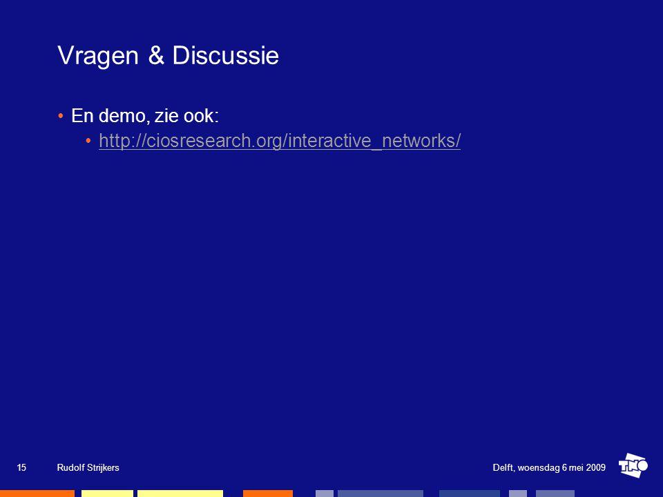 Vragen & Discussie En demo, zie ook: http://ciosresearch.org/interactive_networks/ Delft, woensdag 6 mei 2009Rudolf Strijkers15