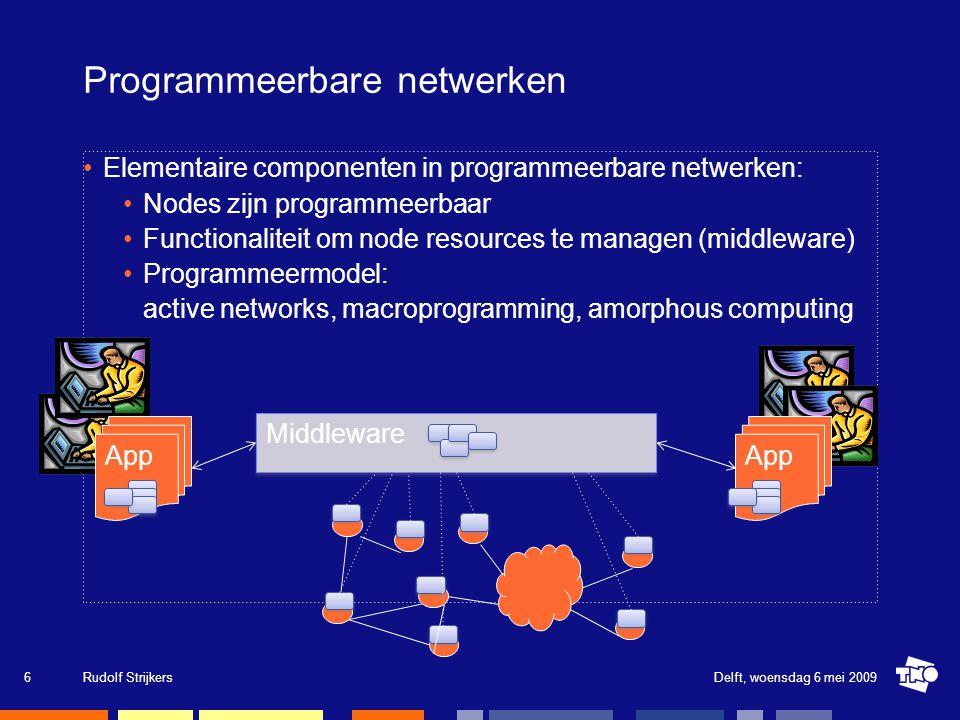 Ons onderzoeksdomein We zijn geïnteresseerd in architectuur principes die de volgende generatie van netwerk en gedistribueerde applicaties accommoderen: Environmental monitoring (grootschalige sensornetwerken) High-performance (real-time) computing (e-Science: eVLBI) Resilient and self-healing networks (optimizing computer programs) Delft, woensdag 6 mei 2009Rudolf Strijkers7