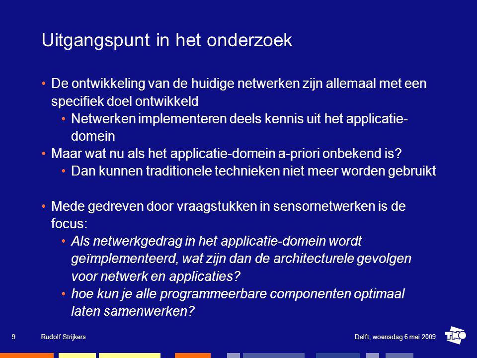 Basis framework om netwerk applicaties vanuit de applicatiedomein te programmeren gebaseerd op virtualisatie: Applicaties hebben een interface naar het netwerk (network component) Applicatie gedrag is onbekend: ondersteunen van uploaden van applicatie-specifieke code (applicatie component) Netwerkgedrag programmeerbaar vanuit het applicatie-domein: Het netwerk is software.