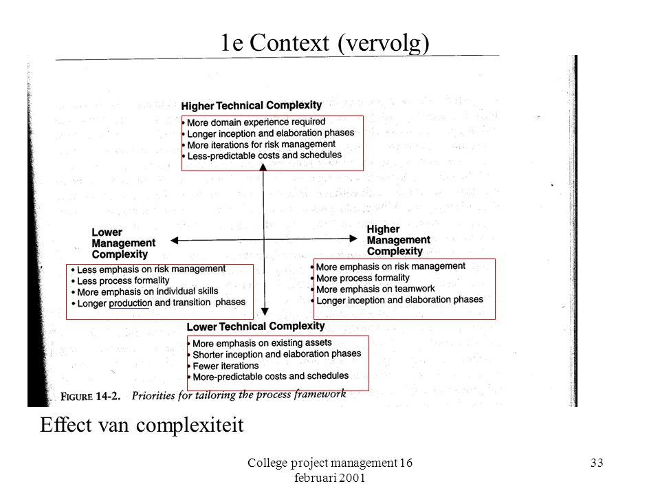College project management 16 februari 2001 33 1e Context (vervolg) Effect van complexiteit