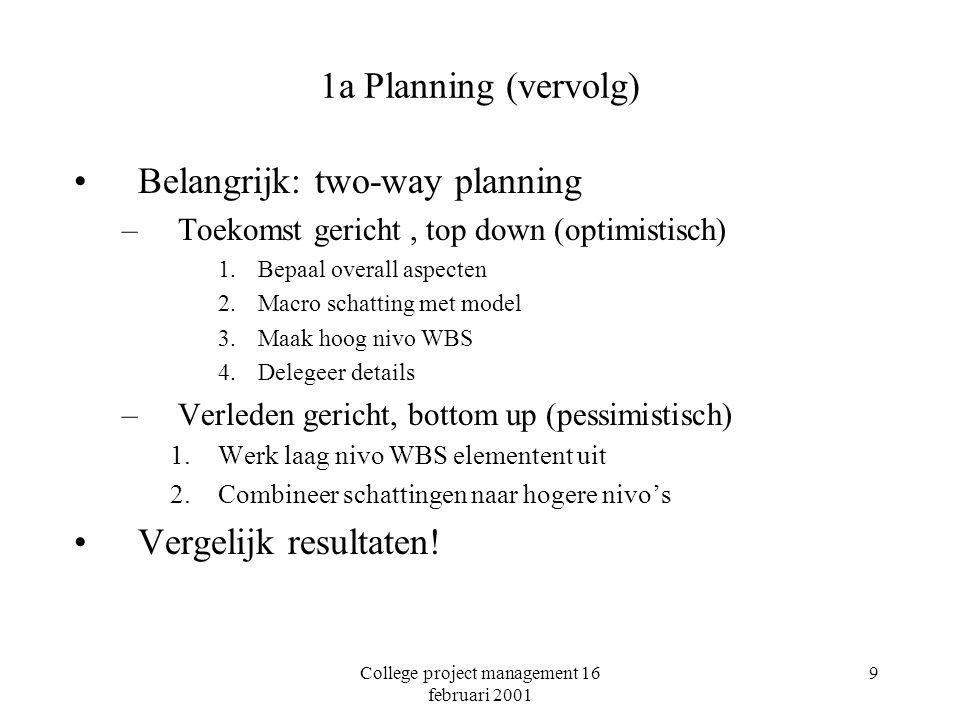 College project management 16 februari 2001 9 1a Planning (vervolg) Belangrijk: two-way planning –Toekomst gericht, top down (optimistisch) 1.Bepaal overall aspecten 2.Macro schatting met model 3.Maak hoog nivo WBS 4.Delegeer details –Verleden gericht, bottom up (pessimistisch) 1.Werk laag nivo WBS elementent uit 2.Combineer schattingen naar hogere nivo's Vergelijk resultaten!