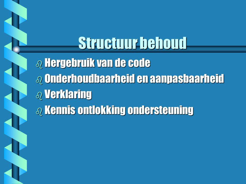Inleiding b Hoe zet je de eisen van het analyse model om een software systeem b Bronnen: Het Kennis model, externe interacties vereiste en een verzameling van niet functionele vereiste b Software architectuur b Vier ontwerp Stappen