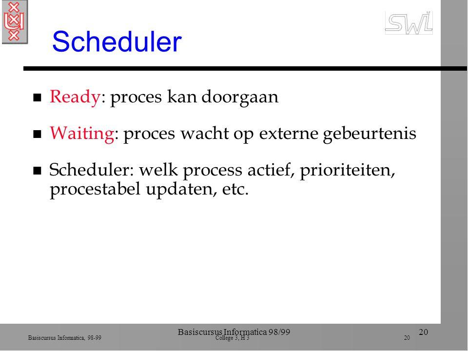 Basiscursus Informatica, 98-99 College 3, H 3 20 Basiscursus Informatica 98/9920 Scheduler n Ready: proces kan doorgaan n Waiting: proces wacht op externe gebeurtenis n Scheduler: welk process actief, prioriteiten, procestabel updaten, etc.