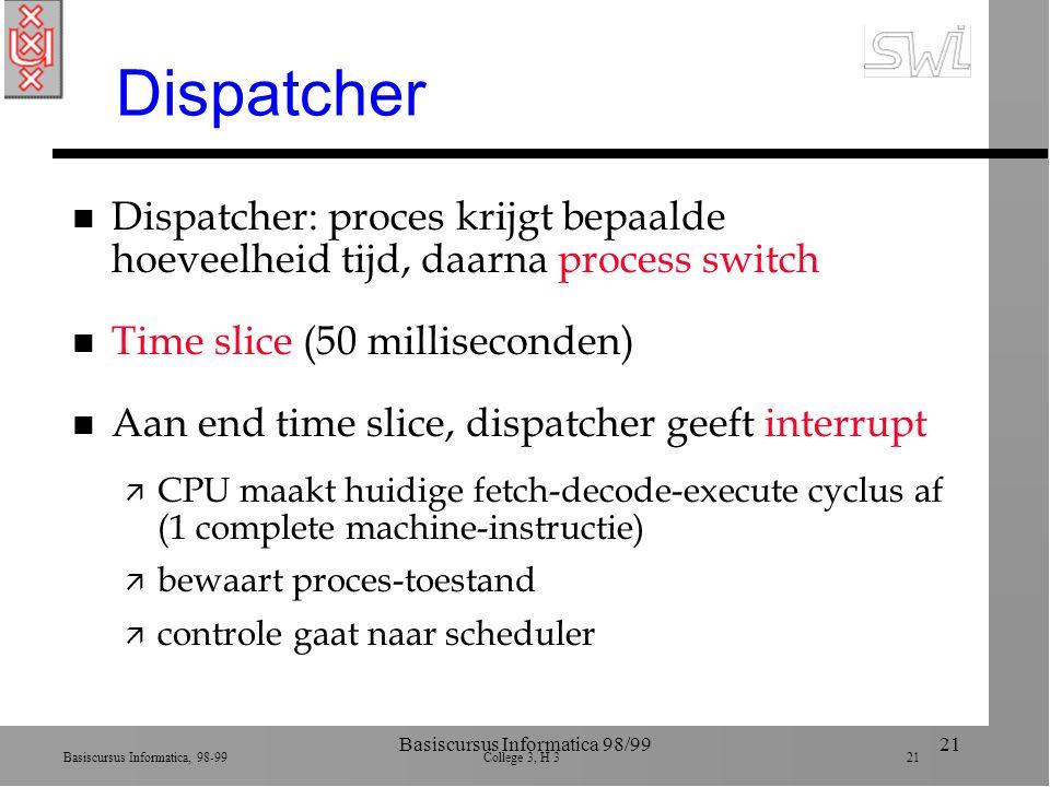 Basiscursus Informatica, 98-99 College 3, H 3 21 Basiscursus Informatica 98/9921 Dispatcher n Dispatcher: proces krijgt bepaalde hoeveelheid tijd, daarna process switch n Time slice (50 milliseconden) n Aan end time slice, dispatcher geeft interrupt ä CPU maakt huidige fetch-decode-execute cyclus af (1 complete machine-instructie) ä bewaart proces-toestand ä controle gaat naar scheduler