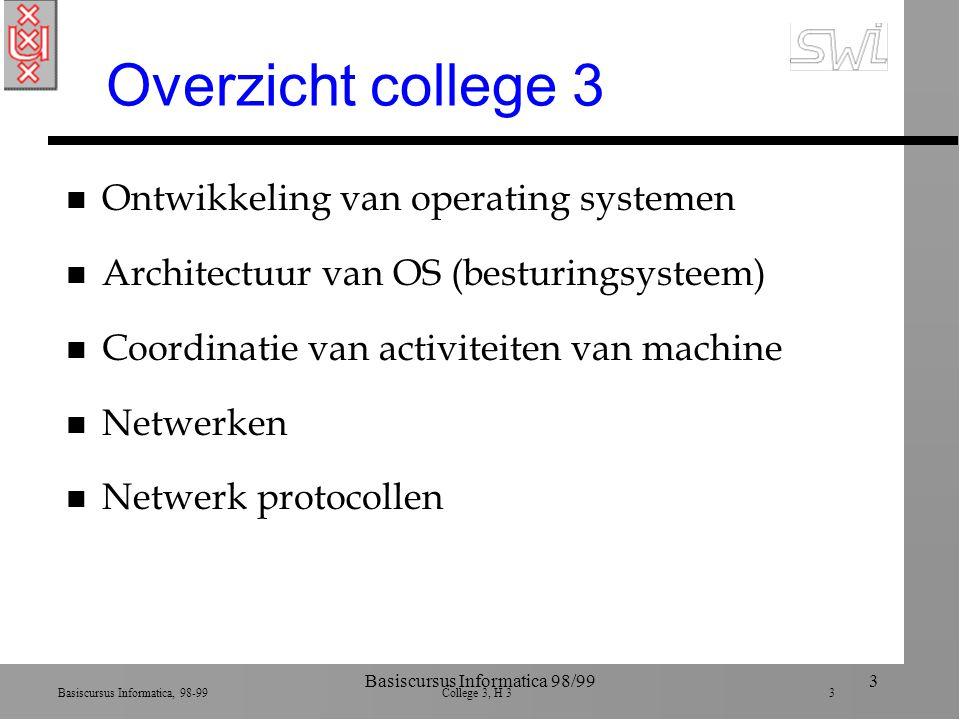 Basiscursus Informatica, 98-99 College 3, H 3 44 Basiscursus Informatica 98/9944 Sender: applic, transport n Application layer ä software voor specifieke applicatie.