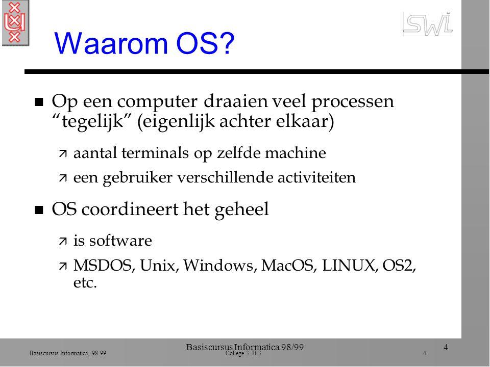 Basiscursus Informatica, 98-99 College 3, H 3 25 Basiscursus Informatica 98/9925 Proces synchronisatie n Concurrerende processen ä File manager: geeft toegang tot files en vrij geheugen ä Memory manager: wijst geheugen ruimte toe ä Scheduler: wijst ruimte in proces-tabel toe ä Dispatcher: wijst time-slices toe n OS moet ze coordineren en synchroniseren