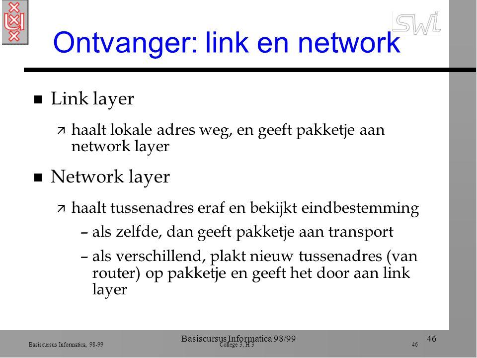 Basiscursus Informatica, 98-99 College 3, H 3 46 Basiscursus Informatica 98/9946 Ontvanger: link en network n Link layer ä haalt lokale adres weg, en geeft pakketje aan network layer n Network layer ä haalt tussenadres eraf en bekijkt eindbestemming –als zelfde, dan geeft pakketje aan transport –als verschillend, plakt nieuw tussenadres (van router) op pakketje en geeft het door aan link layer