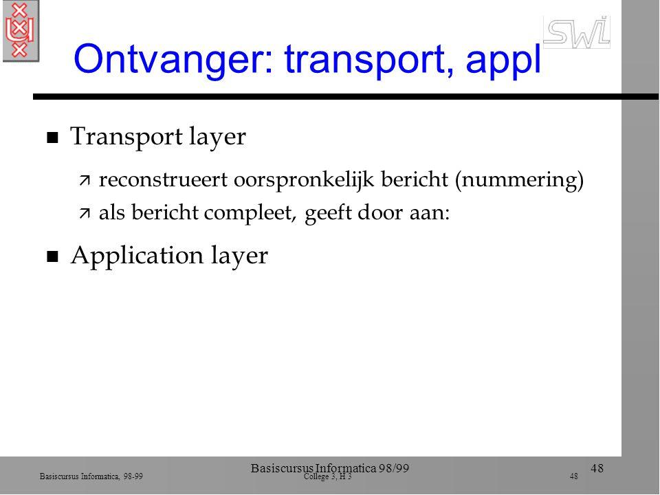 Basiscursus Informatica, 98-99 College 3, H 3 48 Basiscursus Informatica 98/9948 Ontvanger: transport, appl n Transport layer ä reconstrueert oorspronkelijk bericht (nummering) ä als bericht compleet, geeft door aan: n Application layer