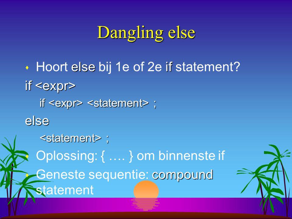 Dangling else elseif s Hoort else bij 1e of 2e if statement.