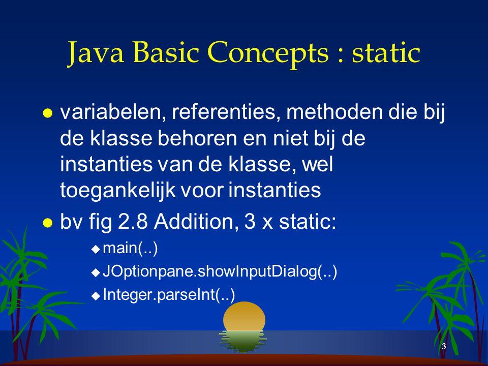 3 Java Basic Concepts : static l variabelen, referenties, methoden die bij de klasse behoren en niet bij de instanties van de klasse, wel toegankelijk