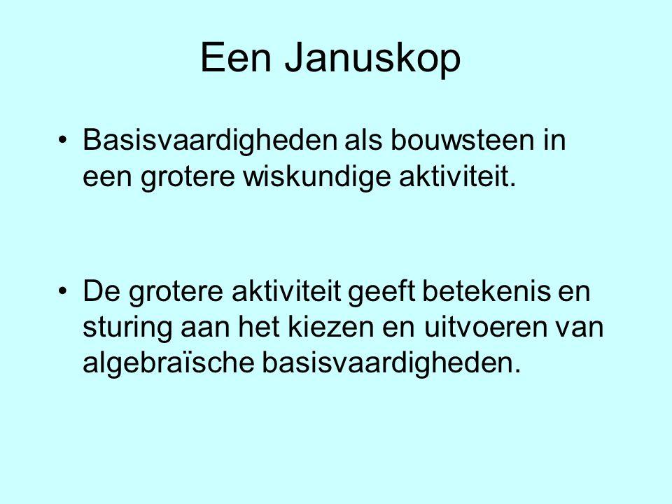 Een Januskop Basisvaardigheden als bouwsteen in een grotere wiskundige aktiviteit. De grotere aktiviteit geeft betekenis en sturing aan het kiezen en