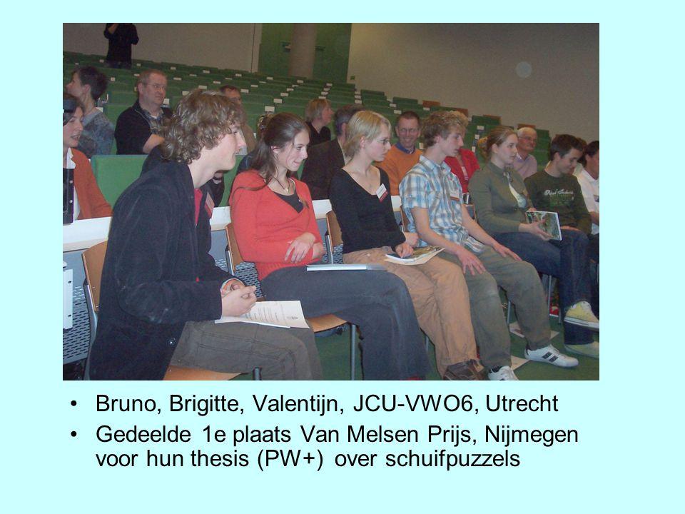 Bruno, Brigitte, Valentijn, JCU-VWO6, Utrecht Gedeelde 1e plaats Van Melsen Prijs, Nijmegen voor hun thesis (PW+) over schuifpuzzels