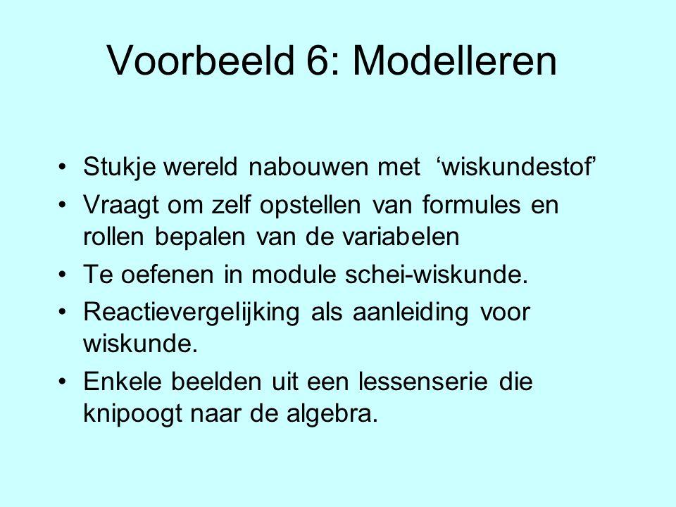 Voorbeeld 6: Modelleren Stukje wereld nabouwen met 'wiskundestof' Vraagt om zelf opstellen van formules en rollen bepalen van de variabelen Te oefenen