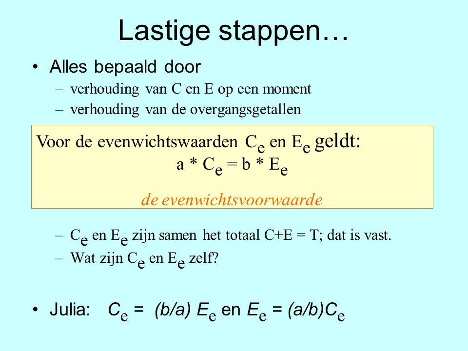 Lastige stappen… Alles bepaald door –verhouding van C en E op een moment –verhouding van de overgangsgetallen –C e en E e zijn samen het totaal C+E =