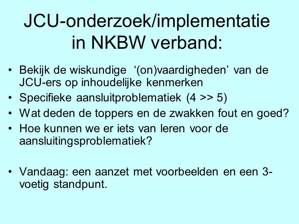 JCU-onderzoek/implementatie in NKBW verband: Bekijk de wiskundige '(on)vaardigheden' van de JCU-ers op inhoudelijke kenmerken Specifieke aansluitprobl