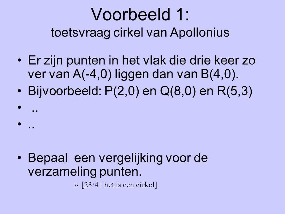 Voorbeeld 1: toetsvraag cirkel van Apollonius Er zijn punten in het vlak die drie keer zo ver van A(-4,0) liggen dan van B(4,0). Bijvoorbeeld: P(2,0)