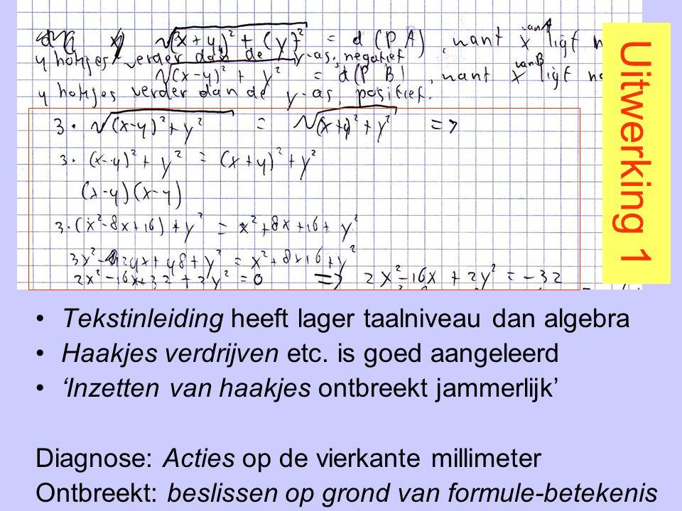 Uitwerking 1 Tekstinleiding heeft lager taalniveau dan algebra Haakjes verdrijven etc. is goed aangeleerd 'Inzetten van haakjes ontbreekt jammerlijk'