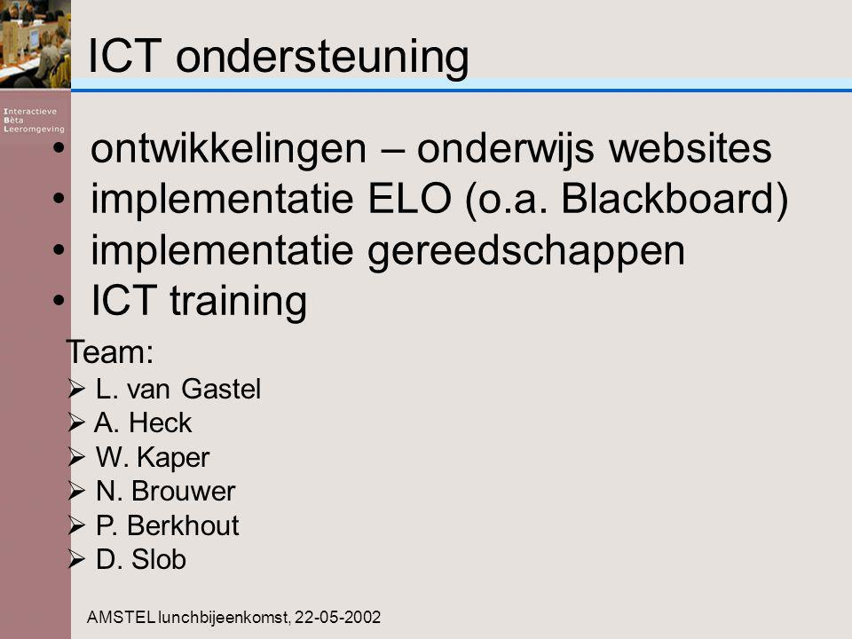 ICT ondersteuning AMSTEL lunchbijeenkomst, 22-05-2002 Team:  L. van Gastel  A. Heck  W. Kaper  N. Brouwer  P. Berkhout  D. Slob ontwikkelingen –