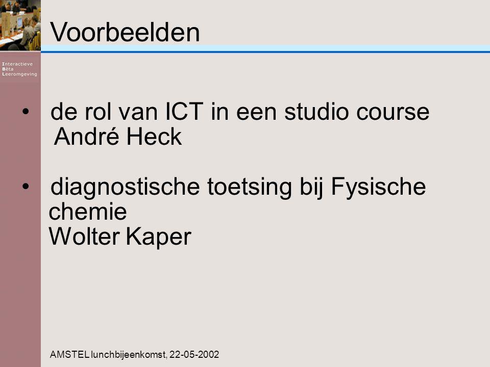Voorbeelden AMSTEL lunchbijeenkomst, 22-05-2002 de rol van ICT in een studio course André Heck diagnostische toetsing bij Fysische chemie Wolter Kaper
