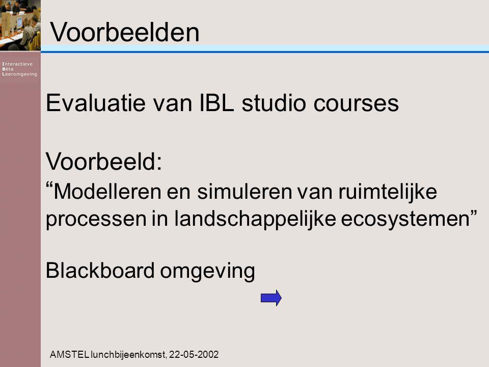 Voorbeelden AMSTEL lunchbijeenkomst, 22-05-2002 Evaluatie van IBL studio courses Voorbeeld: Modelleren en simuleren van ruimtelijke processen in landschappelijke ecosystemen Blackboard omgeving