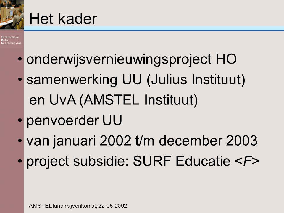 Het kader onderwijsvernieuwingsproject HO samenwerking UU (Julius Instituut) en UvA (AMSTEL Instituut) penvoerder UU van januari 2002 t/m december 2003 project subsidie: SURF Educatie AMSTEL lunchbijeenkomst, 22-05-2002