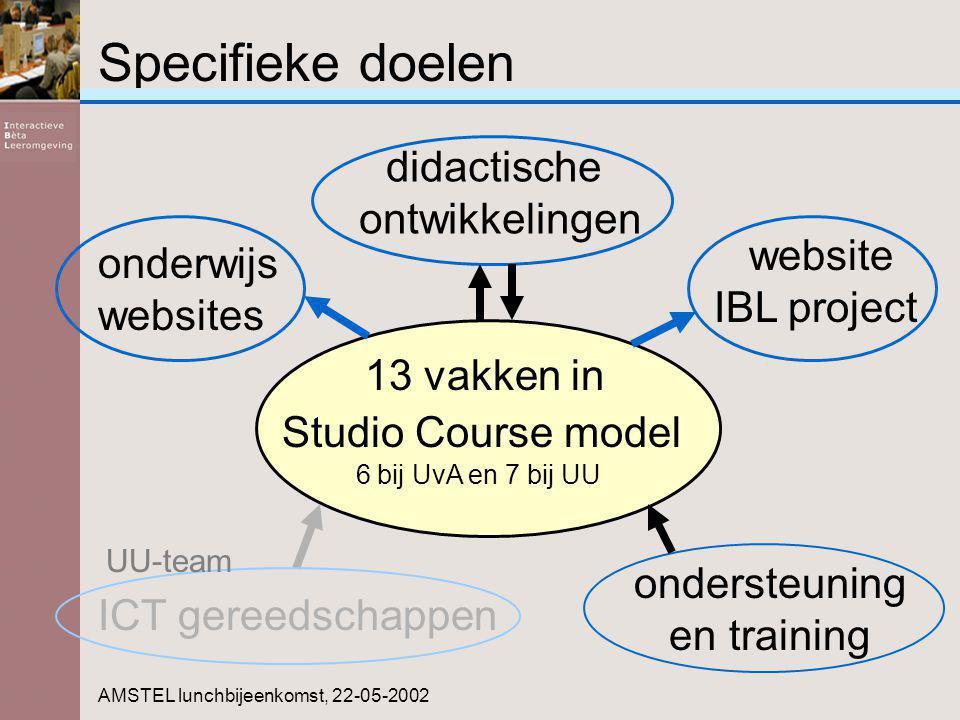 Specifieke doelen 13 vakken in Studio Course model 6 bij UvA en 7 bij UU AMSTEL lunchbijeenkomst, 22-05-2002 website IBL project didactische ontwikkel
