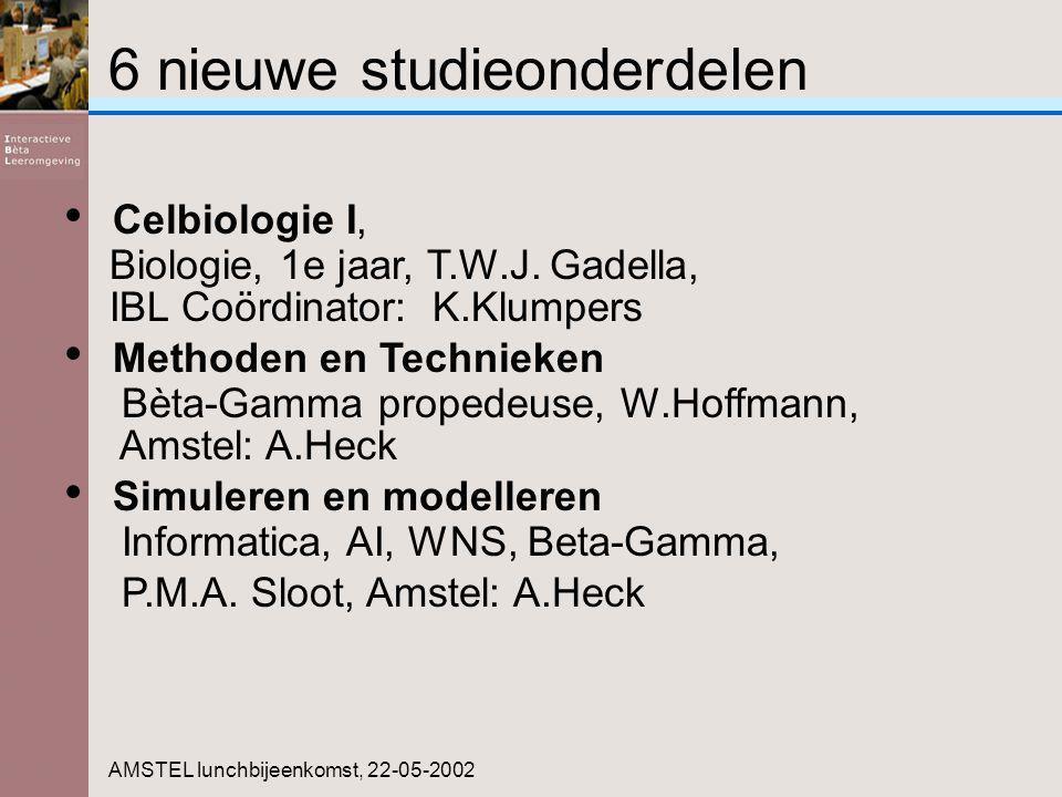 6 nieuwe studieonderdelen AMSTEL lunchbijeenkomst, 22-05-2002 Celbiologie I, Biologie, 1e jaar, T.W.J. Gadella, IBL Coördinator: K.Klumpers Methoden e