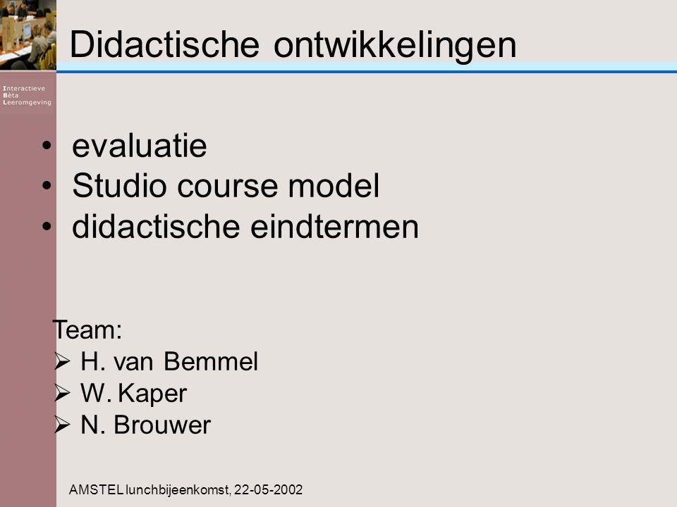 Didactische ontwikkelingen AMSTEL lunchbijeenkomst, 22-05-2002 Team:  H. van Bemmel  W. Kaper  N. Brouwer evaluatie Studio course model didactische