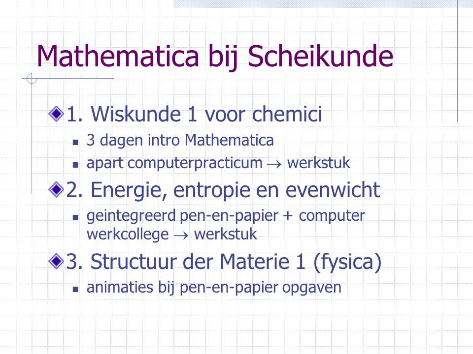 Mathematica bij Scheikunde 1. Wiskunde 1 voor chemici 3 dagen intro Mathematica apart computerpracticum  werkstuk 2. Energie, entropie en evenwicht g