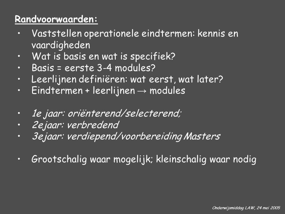Onderwijsmiddag LAW, 24 mei 2005 Randvoorwaarden: Vaststellen operationele eindtermen: kennis en vaardigheden Wat is basis en wat is specifiek? Basis