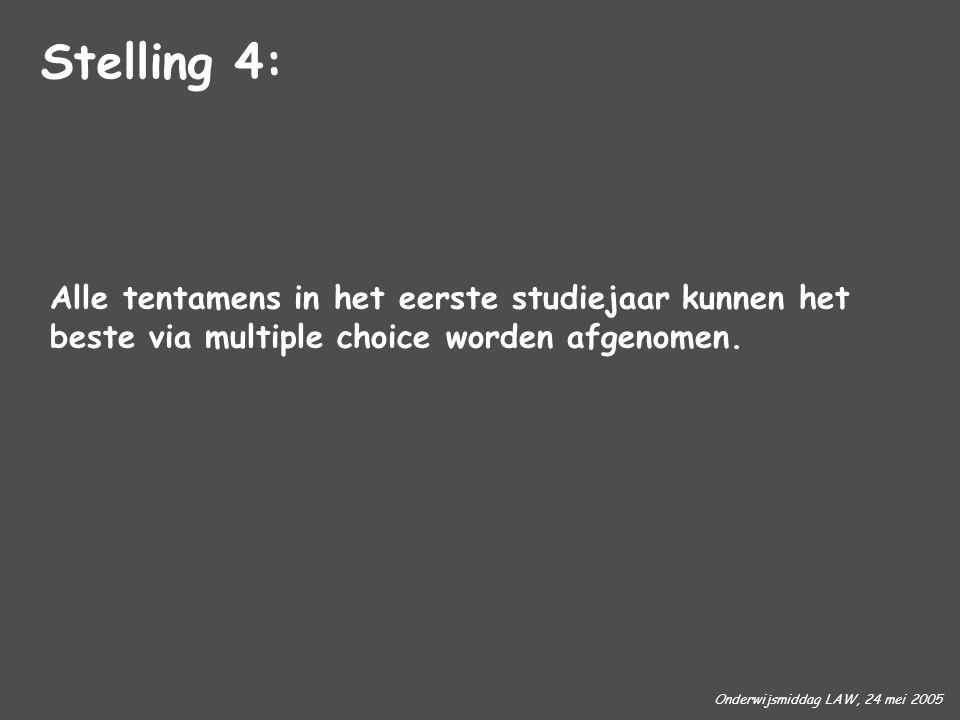 Onderwijsmiddag LAW, 24 mei 2005 Alle tentamens in het eerste studiejaar kunnen het beste via multiple choice worden afgenomen. Stelling 4: