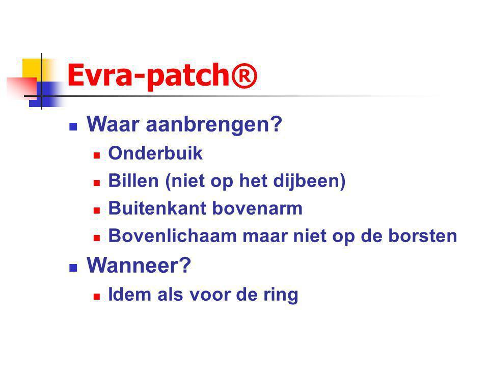 Evra-patch® Dunne pleister: 4.5 x 4.5 cm EE en norelgestromin Eén patch per week gedurende 3 weken