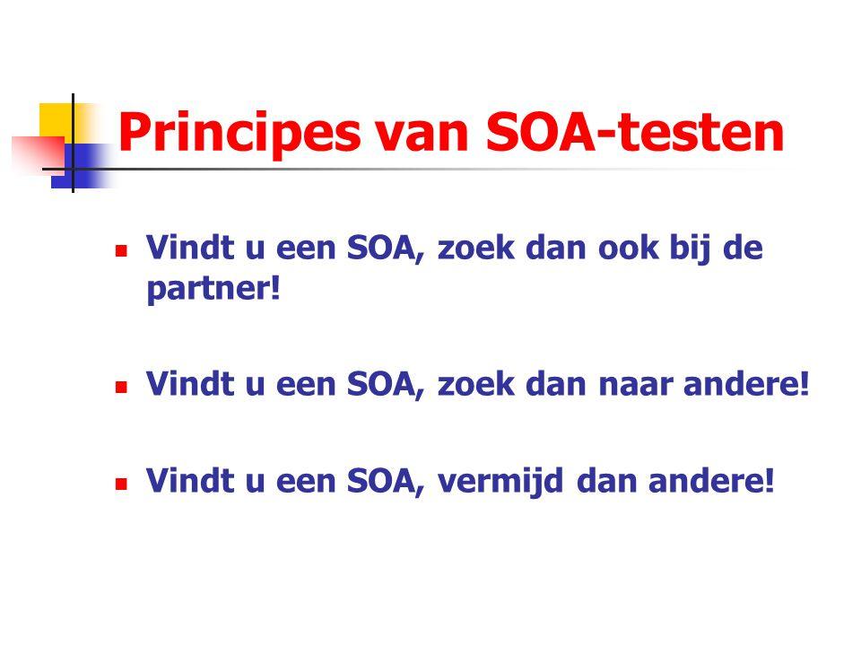 Principes van SOA-testen Vindt u een SOA, zoek dan ook bij de partner! Vindt u een SOA, zoek dan naar andere! Vindt u een SOA, vermijd dan andere!