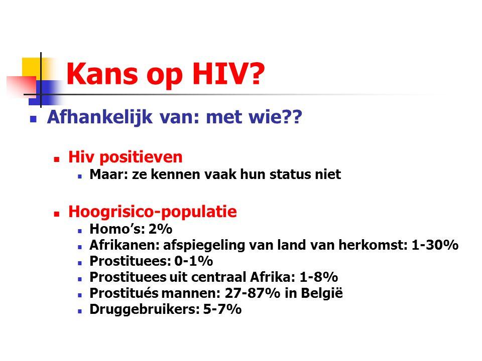 Kans op HIV? Afhankelijk van: met wie?? Hiv positieven Maar: ze kennen vaak hun status niet Hoogrisico-populatie Homo's: 2% Afrikanen: afspiegeling va