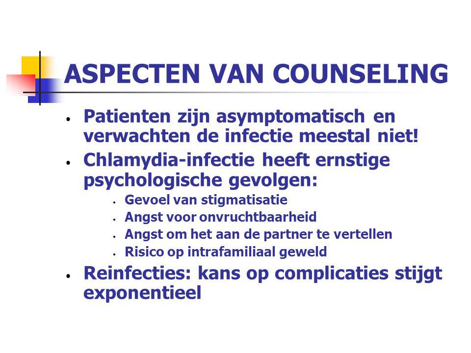 ASPECTEN VAN COUNSELING Patienten zijn asymptomatisch en verwachten de infectie meestal niet! Chlamydia-infectie heeft ernstige psychologische gevolge