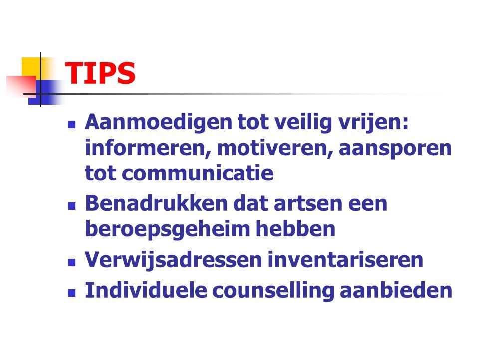 TIPS Aanmoedigen tot veilig vrijen: informeren, motiveren, aansporen tot communicatie Benadrukken dat artsen een beroepsgeheim hebben Verwijsadressen