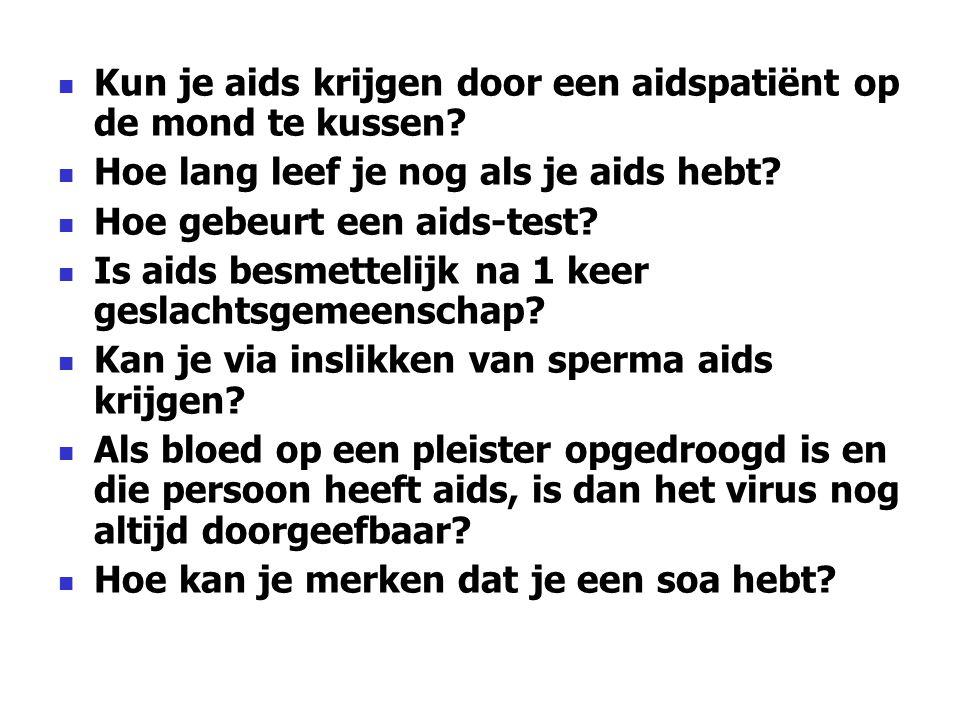 Kun je aids krijgen door een aidspatiënt op de mond te kussen? Hoe lang leef je nog als je aids hebt? Hoe gebeurt een aids-test? Is aids besmettelijk
