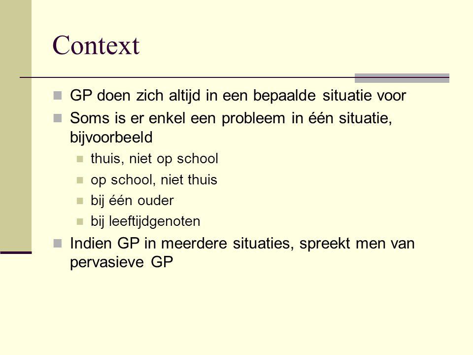 Context GP doen zich altijd in een bepaalde situatie voor Soms is er enkel een probleem in één situatie, bijvoorbeeld thuis, niet op school op school,
