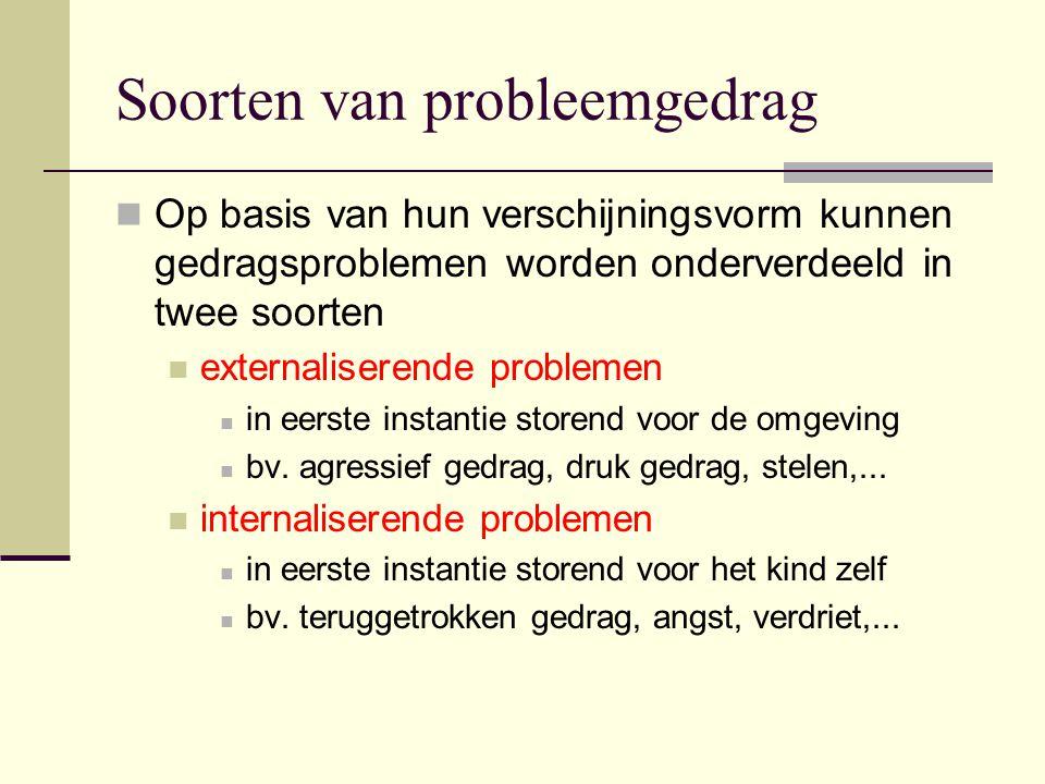 Soorten van probleemgedrag Op basis van hun verschijningsvorm kunnen gedragsproblemen worden onderverdeeld in twee soorten externaliserende problemen