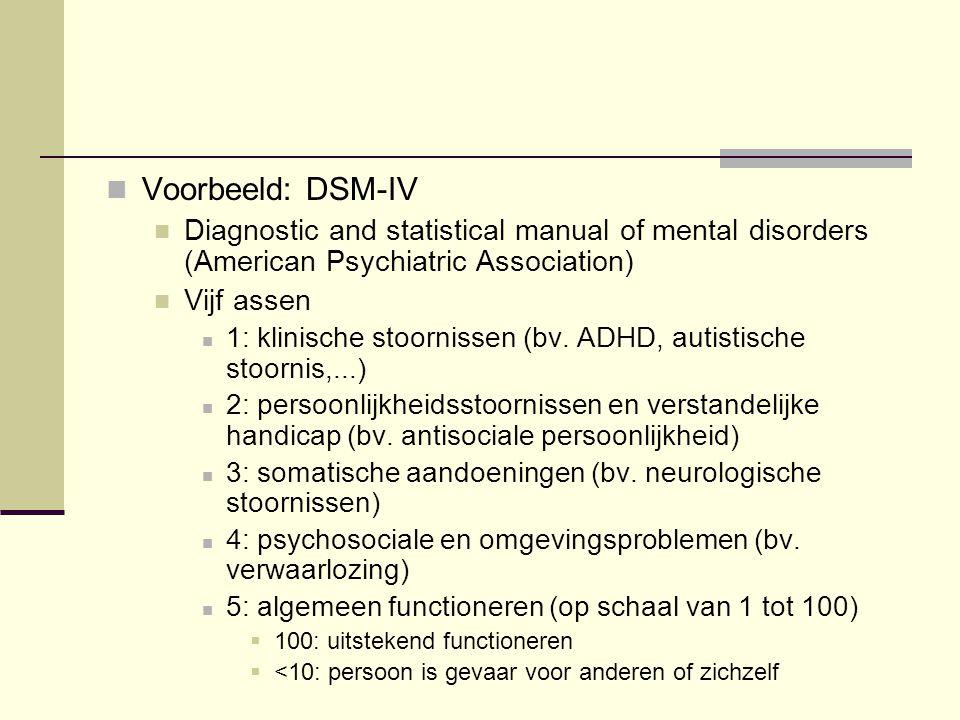 Voorbeeld: DSM-IV Diagnostic and statistical manual of mental disorders (American Psychiatric Association) Vijf assen 1: klinische stoornissen (bv. AD