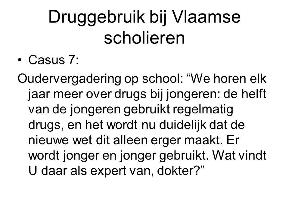 Druggebruik bij Vlaamse scholieren Casus 7: Oudervergadering op school: We horen elk jaar meer over drugs bij jongeren: de helft van de jongeren gebruikt regelmatig drugs, en het wordt nu duidelijk dat de nieuwe wet dit alleen erger maakt.